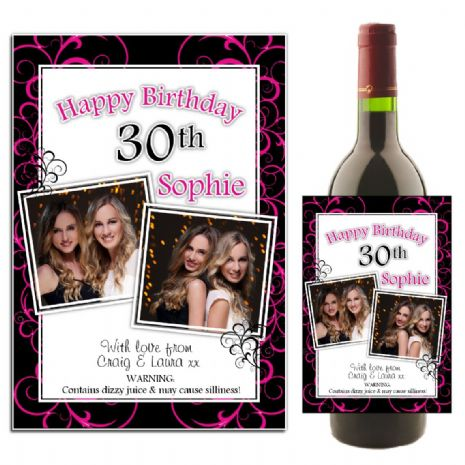 Personalised Black & Hot Pink Swirls Happy Birthday Wine / Champagne Bottle PHOTO Label N37